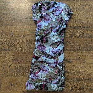 NWOT fitted, purple floral print mini dress